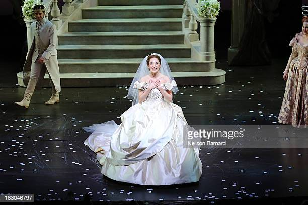 Actress Laura Osnes on stage at the Cinderella Broadway Opening Night curtain call at Broadway Theatre on March 3 2013 in New York City