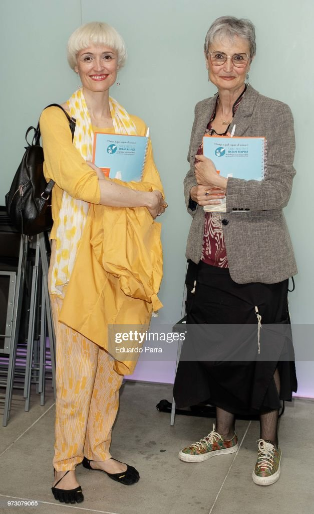 Actress Laura Pamplona and mother Amparo Pamplona attend the 'Avene support skin cancer prevencion' event at UnoNueve space on June 13, 2018 in Madrid, Spain.