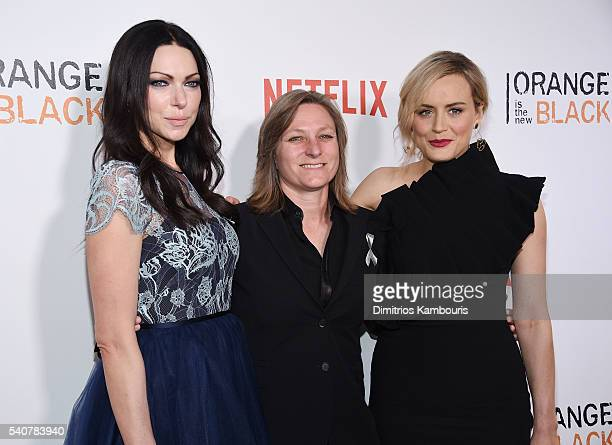 Actress Laura Prepon Cindy Holland and Taylor Schilling attend 'Orange Is The New Black' premiere at SVA Theater on June 16 2016 in New York City
