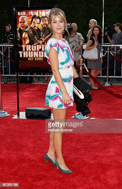 Actress Laura Ramsey arrives at the premiere of Dreamworks Pictures' Tropic Thunder at the Mann Village Theater on August 11 2008 in Los Angeles...