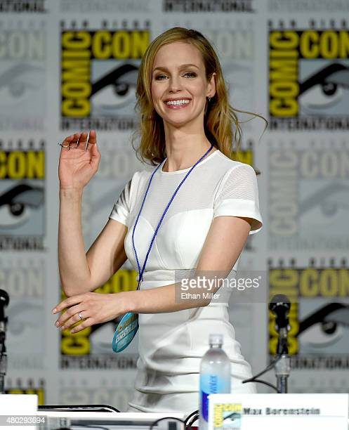 Actress Laura Regan attends the 'Minority Report' panel during ComicCon International 2015 at the San Diego Convention Center on July 10 2015 in San...