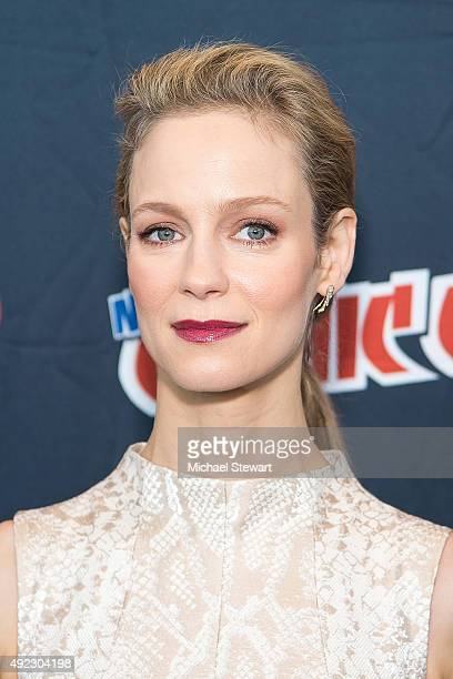 Actress Laura Regan poses in the press room for the 'Minority Report' panel during Comic Con Day 4 at The Jacob K Javits Convention Center on October...
