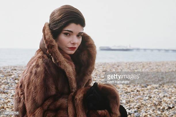 Actress Laura San Giacomo on Brighton beach UK in a publicity still for the thriller 'Under Suspicion' 1991