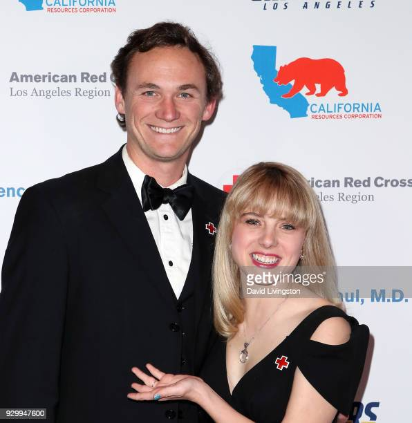 Actress Laura Slade Wiggins and Kyle Weishaar attend the American Red Cross Annual Humanitarian Celebration to honor the Los Angeles Chargers at...
