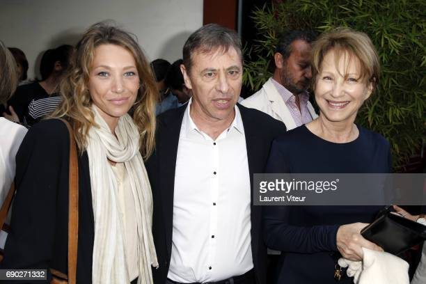 Actress Laura Smet Writer LouisMichel Colla and Actress Nathalie Baye attends 'Ca Coule de Source ' Theater Play at Theatre de la Gaite Montparnasse...