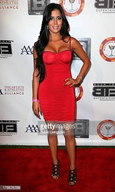 Actress Laura Soares attends the 8th Annual BTE AllStar Celebrity Kickoff Party at the Playboy Mansion on July 15 2013 in Beverly Hills California