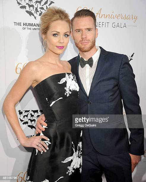 Actress Laura Vandervoort and Oliver Trevena arrive at The Humane Society Of The United States 60th anniversary benefit gala at The Beverly Hilton...