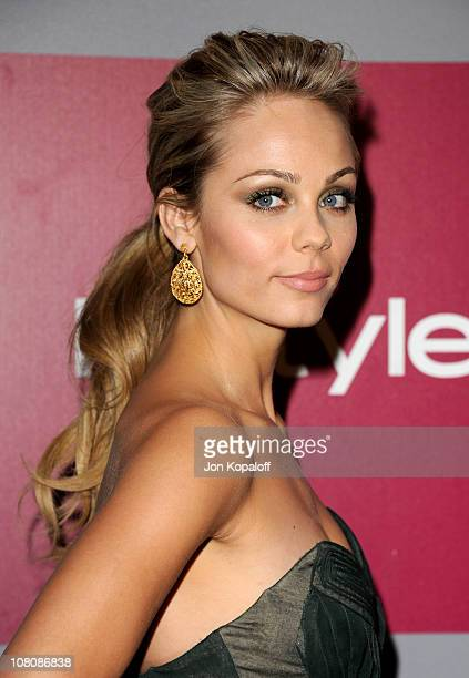 Actress Laura Vandervoort arrives at the 2011 InStyle/Warner Brothers Golden Globes Party at The Beverly Hilton hotel on January 16 2011 in Beverly...
