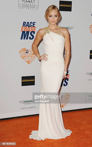 Actress Laura Vandervoort arrives at the 21st Annual Race To Erase MS Gala at the Hyatt Regency Century Plaza on May 2 2014 in Century City California