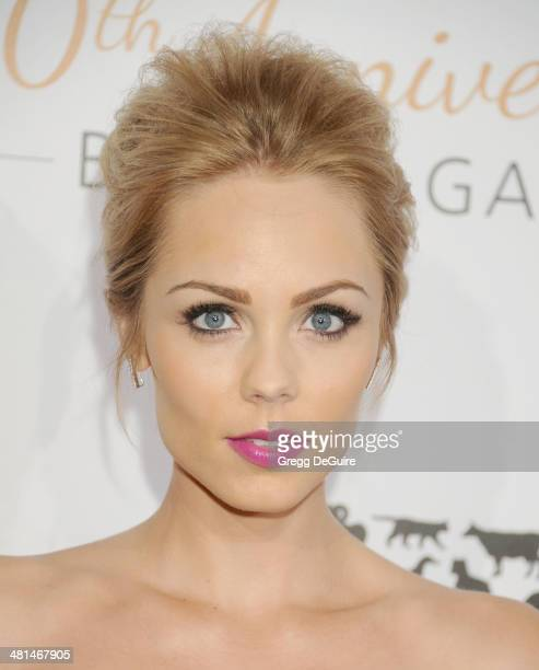 Actress Laura Vandervoort arrives at The Humane Society Of The United States 60th anniversary benefit gala at The Beverly Hilton Hotel on March 29...