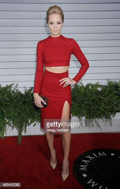 Actress Laura Vandervoort arrives at the MAXIM Hot 100 celebration event at Pacific Design Center on June 10 2014 in West Hollywood California