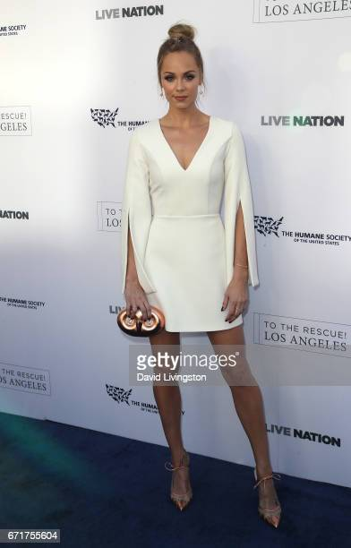 Actress Laura Vandervoort attends the Humane Society of the United States' Annual To The Rescue Los Angeles Benefit at Paramount Studios on April 22...