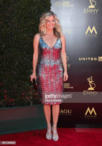 Actress Laura Wright attends the 45th Annual Daytime Creative Arts Emmy Awards at the Pasadena Civic Auditorium on April 27 2018 in Pasadena...