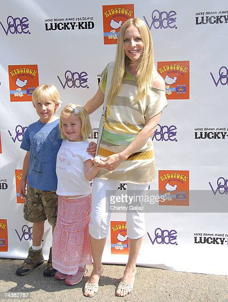 Actress Lauralee Bell and son Christian James Martin and daughter Samantha Lee Martin pose at the Kidstock Music and Art Festival at Greystone...