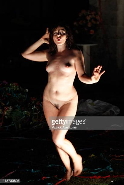 Actress Laure Calamy performs during rehearsals for the show 'Au Moins J'aurais Laisse Un Beau Cadavre' at the Avignon Theatre on July 09 2011 in...