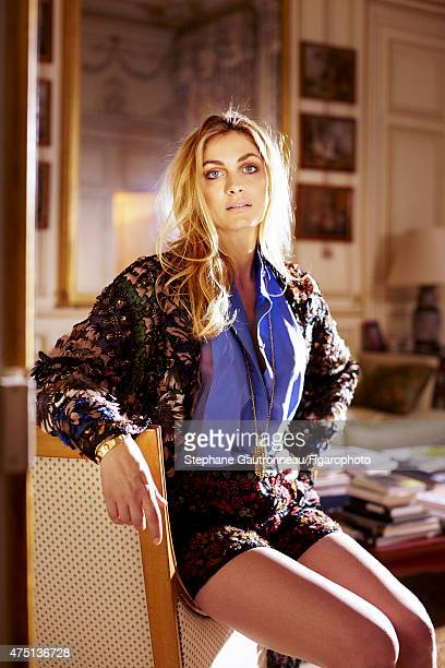 Actress Laure de ClermontTonnerre is photographed for Madame Figaro on March 24 2015 in Paris France Jacket shirt and shorts necklaces and bangle...