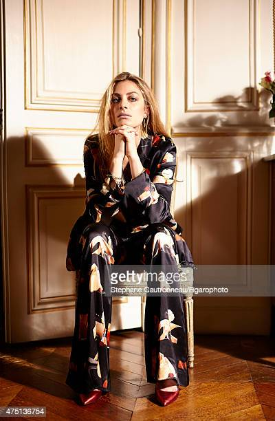 Actress Laure de ClermontTonnerre is photographed for Madame Figaro on March 24 2015 in Paris France Shirt and pants earrings bangles other jewelry...