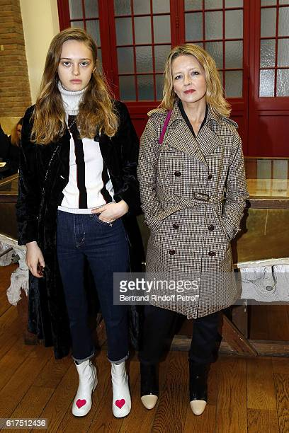 Actress Laure Marsac and her daughter Lily Taieb attend the Azzedine Alaia Fashion Show at Azzedine Alaia Gallery on October 23 2016 in Paris France
