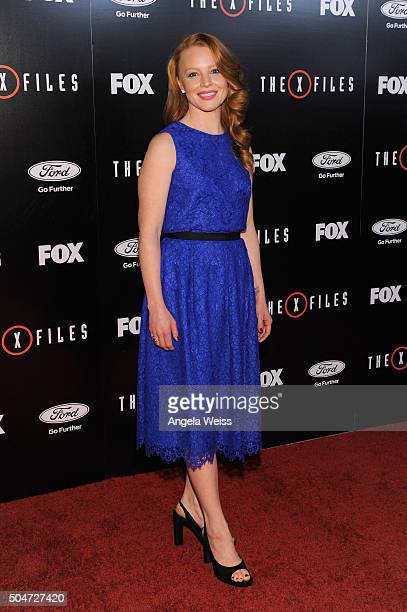 Actress Lauren Ambrose attends the premiere of Fox's 'The XFiles' at California Science Center on January 12 2016 in Los Angeles California