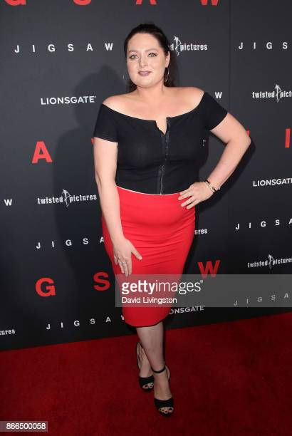 """Actress Lauren Ash attends the premiere of Lionsgate's """"Jigsaw"""" at ArcLight Hollywood on October 25, 2017 in Hollywood, California."""