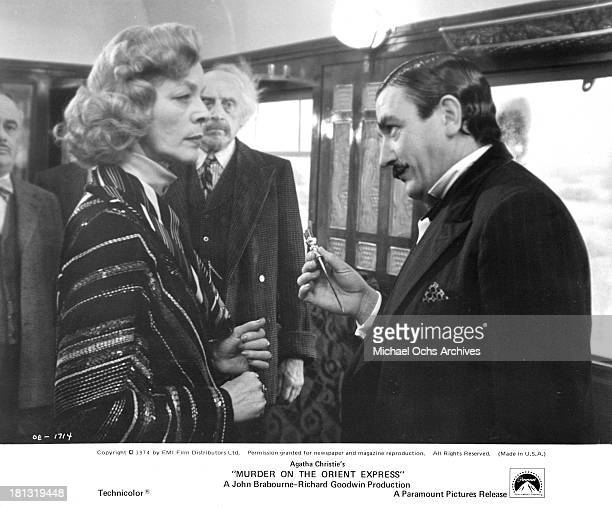 Actress Lauren Bacall and actor Albert Finney on the set of the Paramount Pictures movie 'Murder on the Orient Express' in 1974
