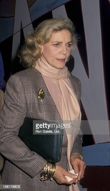 Actress Lauren Bacall attends Michael Dukakis Campaign Fundraiser on October 21 1988 at Roseland Ballroom in New York City