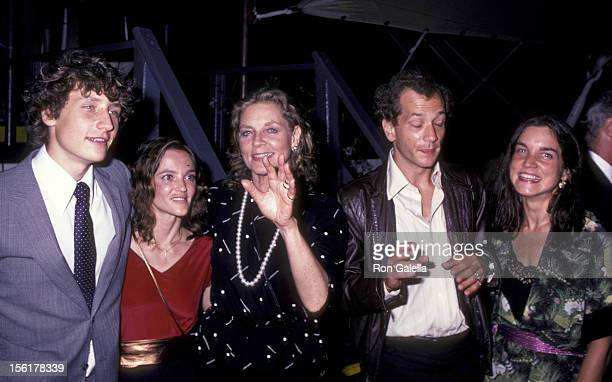 Actress Lauren Bacall daughter Leslie Bogart and sons Sam Robards and Stephen Bogart attend the premiere party for 'Tempest' on August 8 1982 at...