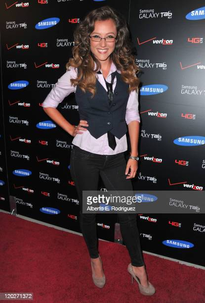 Actress Lauren C Mayhew arrives to the Samsung and Verizon Launch of The Samsung Galaxy Tab 101 on August 2 2011 in West Hollywood California
