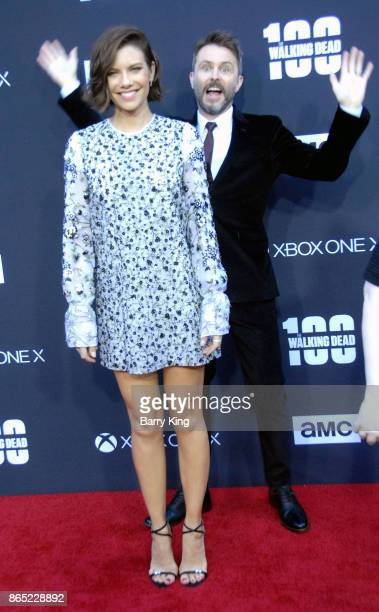 Actress Lauren Cohan and tv personaltiy/host Chris Hardwick attend AMC Celebrates The 100th Episode of 'The Walking Dead' at The Greek Theatre on...