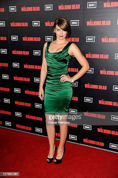 "Actress Lauren Cohan arrives at the premiere of AMC's ""The Walking Dead"" 2nd Season at LA Live Theaters on October 3, 2011 in Los Angeles, California."