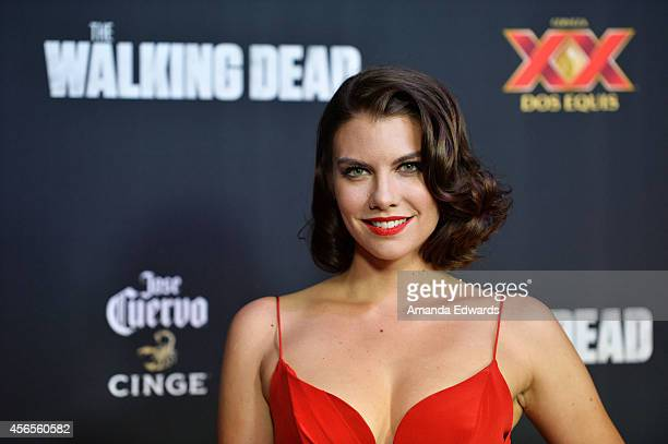 Actress Lauren Cohan arrives at the Season 5 premiere of AMC's 'The Walking Dead' at AMC Universal City Walk on October 2 2014 in Universal City...