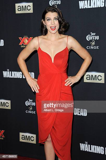 Actress Lauren Cohan arrives for the Season 5 Premiere Of 'The Walking Dead' held at AMC Universal City Walk on October 2 2014 in Universal City...