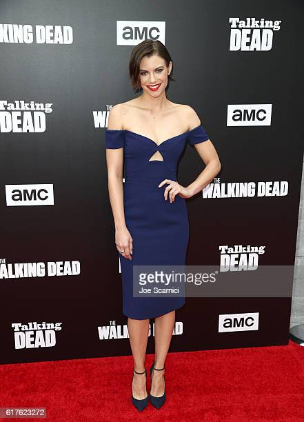 Actress Lauren Cohan attends AMC presents 'Talking Dead Live' for the premiere of 'The Walking Dead' at Hollywood Forever on October 23 2016 in...