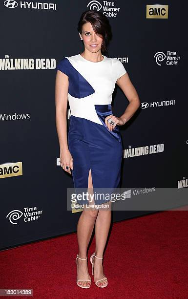 "Actress Lauren Cohan attends the premiere of AMC's ""The Walking Dead"" 4th Season at Universal CityWalk on October 3, 2013 in Universal City,..."