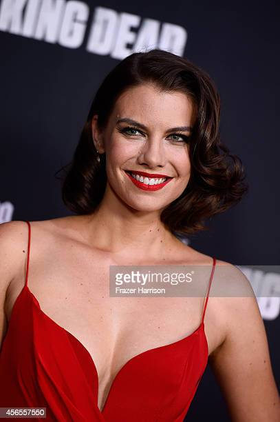 Actress Lauren Cohan attends the season 5 premiere of The Walking Dead at AMC Universal City Walk on October 2 2014 in Universal City California