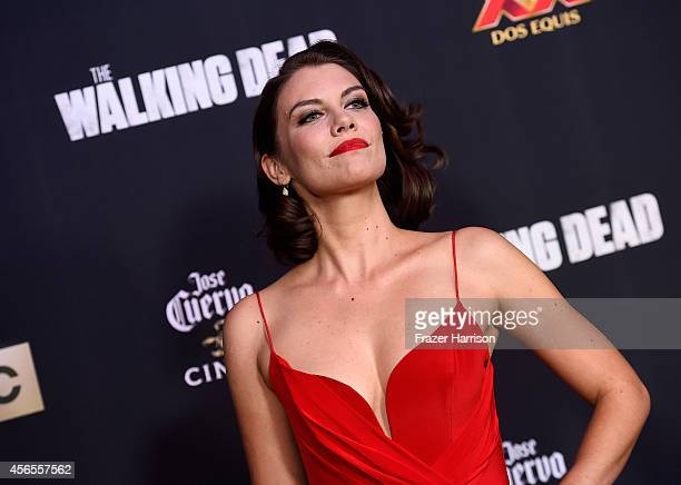 "Actress Lauren Cohan attends the season 5 premiere of ""The Walking Dead"" at AMC Universal City Walk on October 2, 2014 in Universal City, California."