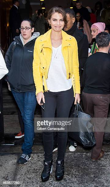 Actress Lauren Cohan is seen leaving Jeremy Scott fashion show during MercedesBenz Fashion Week Fall 2015 at Milk Studios on February 18 2015 in New...