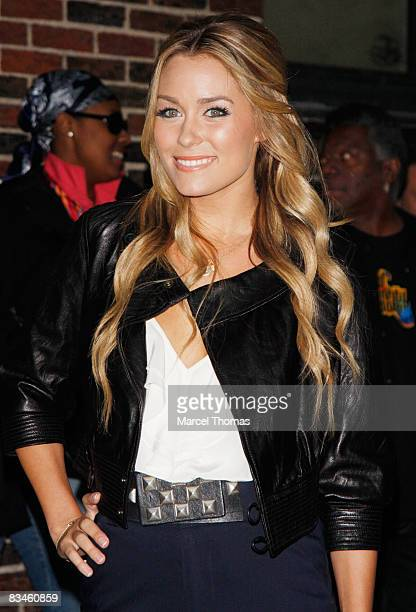 Actress Lauren Conrad visits the Late Show with David Letterman at the Ed Sullivan Theater on October 27 2008 in New York City