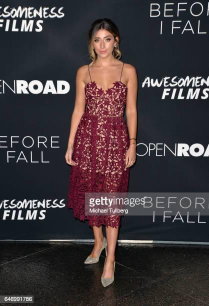 "Actress Lauren Elizabeth attends the premiere of Open Road Films' ""Before I Fall"" at Directors Guild Of America on March 1, 2017 in Los Angeles,..."