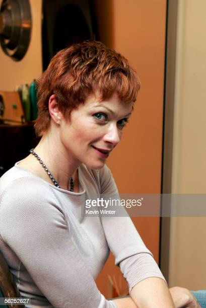 Actress Lauren Holly trims her hair for her role on NCIS as Director Jenny Shepard at the Lush Salon on October 27 2005 in Los Angeles California