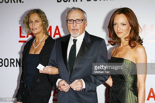 Actress Lauren Hutton actor Dennis Hopper and wife Victoria Duffy arrive at the opening celebration of the Broad Contemporary Art Museum at held at...