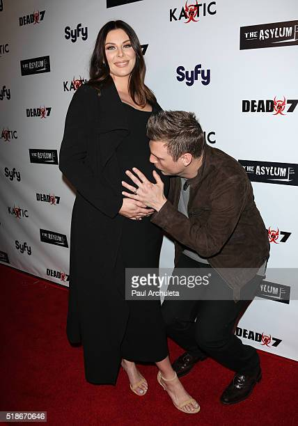 Actress Lauren Kitt and Singer Nick Carter attend the premiere of Syfy's Dead 7 at Harmony Gold on April 1 2016 in Los Angeles California