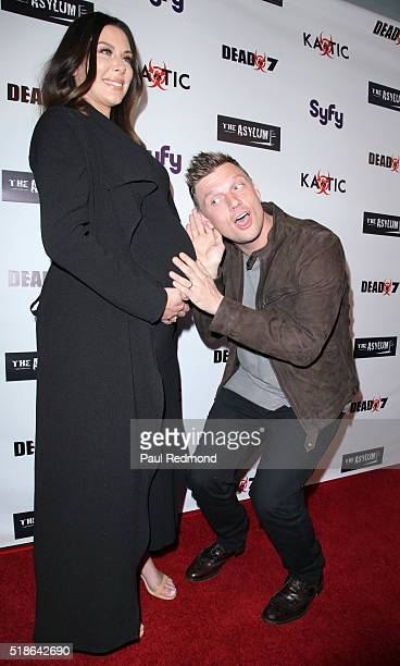 Actress Lauren Kitt Carter and singer Nick Carter on the red carpet the Premiere Of Syfy's Dead 7 at Harmony Gold on April 1 2016 in Los Angeles...