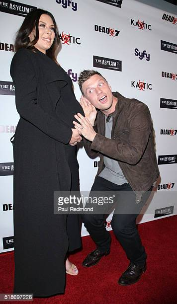 Actress Lauren Kitt Carter and singer Nick Carter on the red carpet for the Premiere of Syfy's Dead 7 at Harmony Gold on April 1 2016 in Los Angeles...