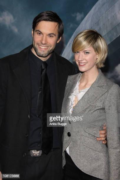 Actress Lauren Lee Smith and actor Maximilian Simonischek arrive at the Kosmos movie theater for the Hindenburg premiere on January 18 2011 in Berlin...