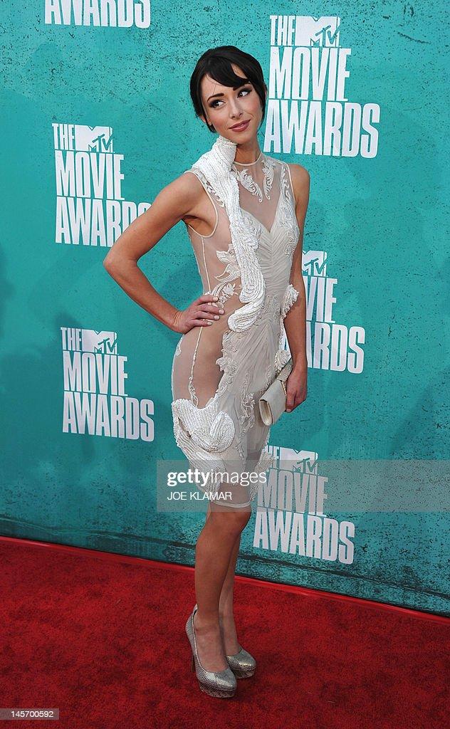 Actress Lauren McKnight arrives at the MTV Movie Awards at Universal Studios, in Los Angeles, California, on June 3, 2012.