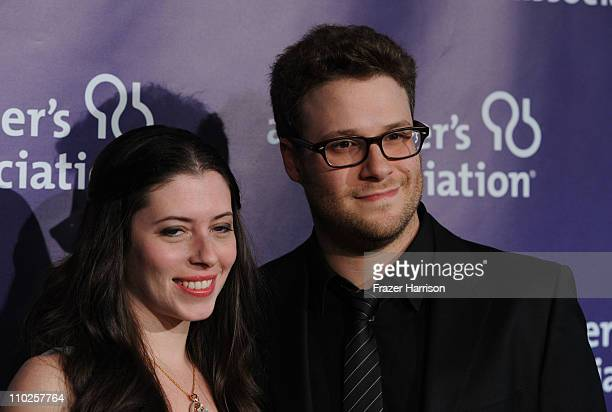 Actress Lauren Miller and actor Seth Rogen arrive at the 19th Annual A Night At Sardi's benefitting the Alzheimer's Association at the Beverly Hilton...
