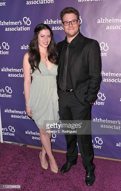 Actress Lauren Miller and actor Seth Rogen arrive to the 19th Annual 'A Night at Sardi's' benefitting the Alzheimer's Association on March 16 2011 in...