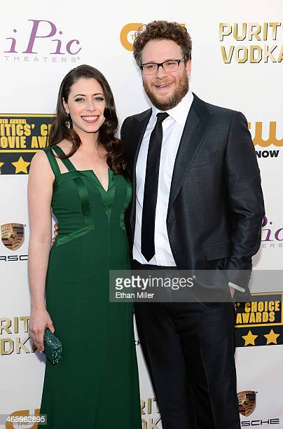 Actress Lauren Miller and actor Seth Rogen attend the 19th Annual Critics' Choice Movie Awards at Barker Hangar on January 16 2014 in Santa Monica...