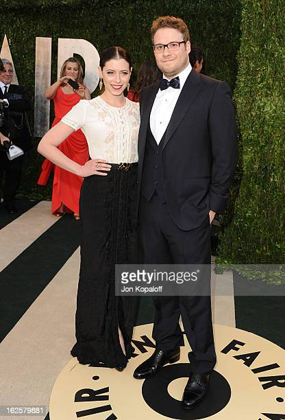Actress Lauren Miller and actor Seth Rogen attend the 2013 Vanity Fair Oscar party at Sunset Tower on February 24 2013 in West Hollywood California